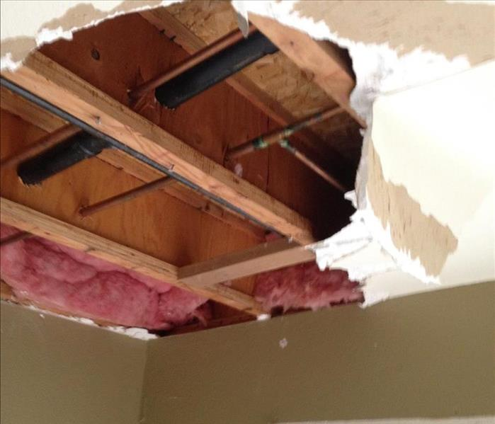 Roof leak caused a ceiling to collapse