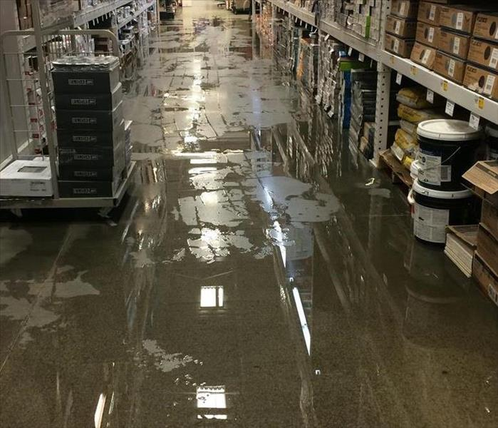 Water damage and flooding of large store